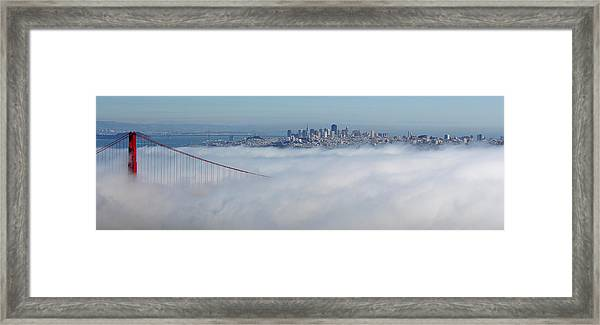 Golden Gate Fog Pano Framed Print