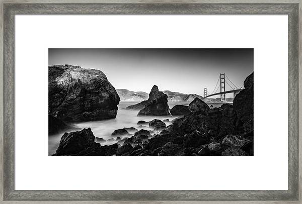 Golden Gate In Black And White Framed Print