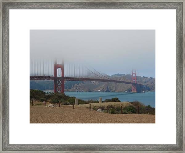 Golden Gate In The Clouds Framed Print