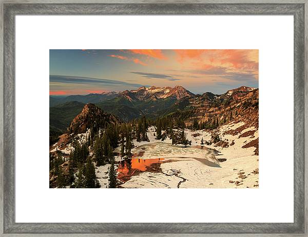 Golden Glow At Silver Glance Lake. Framed Print