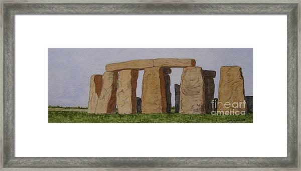 Golden Glow- Stonehenge Framed Print