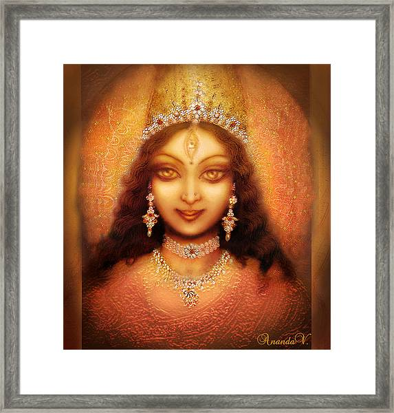 Golden Goddess Durga  Framed Print by Ananda Vdovic
