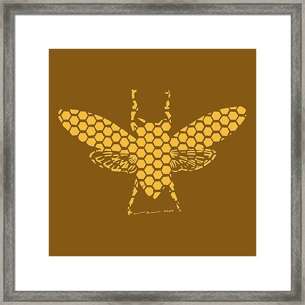 Golden Hex Bee Framed Print