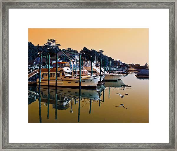 Golden Hour At The Marshwalk Framed Print