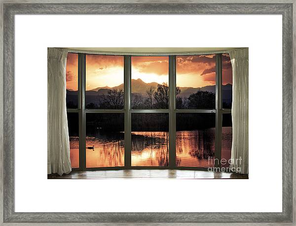 Golden Ponds Bay Window View Framed Print