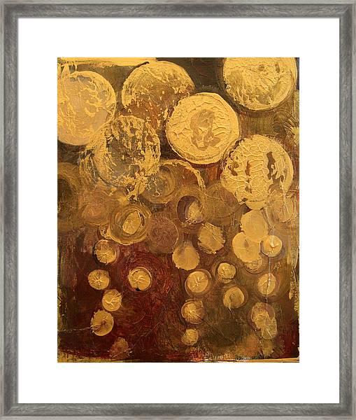 Golden Rain Abstract Framed Print