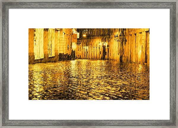 Golden Rain In Vienna At Night Framed Print