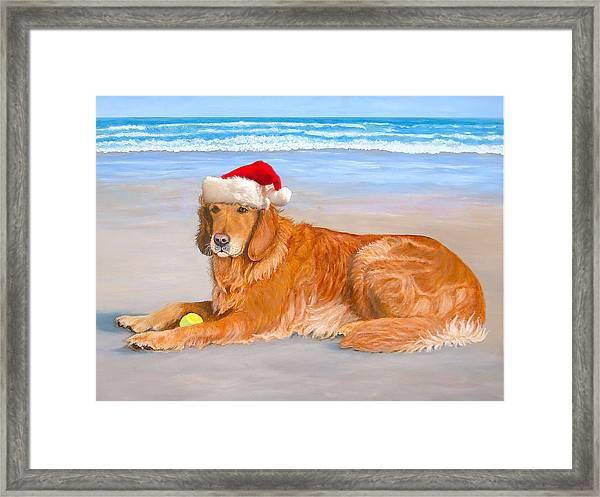 Golden Retreiver Holiday Card Framed Print