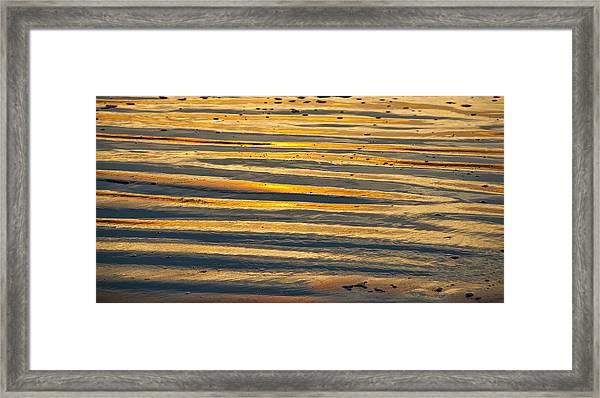Golden Sand On Beach Framed Print