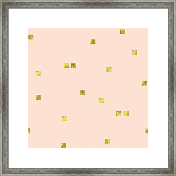 Golden Scattered Confetti Pattern, Baby Pink Background Framed Print