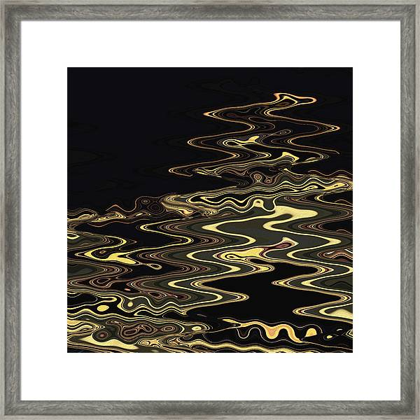 Framed Print featuring the digital art Golden Shimmers On A Dark Sea by Gina Harrison