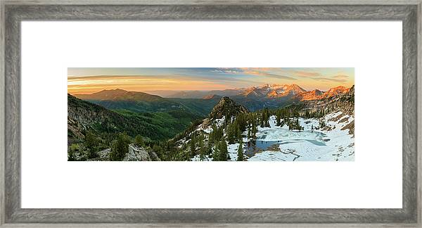 Golden Silver Glance Lake Panorama. Framed Print