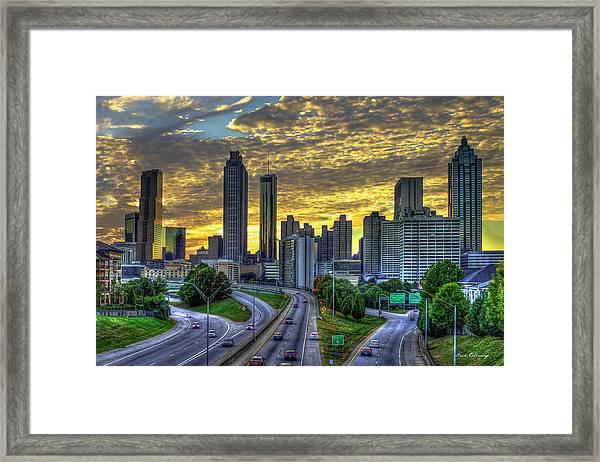 Golden Skies Atlanta Downtown Sunset Cityscape Art Framed Print