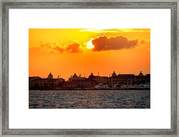 Golden Sky In Cancun Framed Print