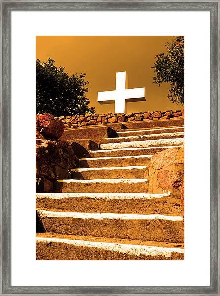 Golden Stairway Framed Print