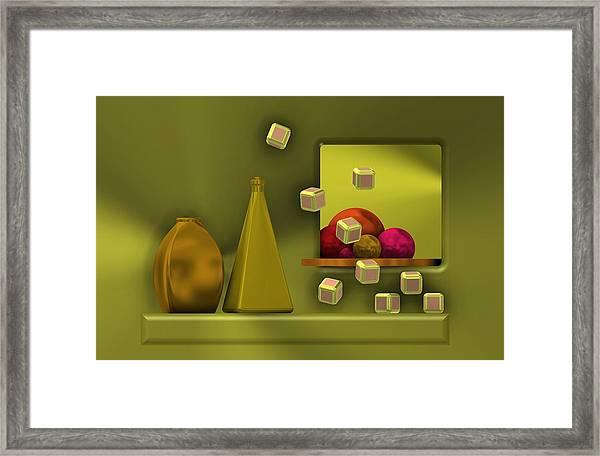 Golden Still Life With Red Balls  Framed Print