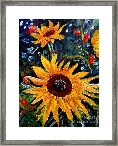 Golden Sunflower Burst Framed Print