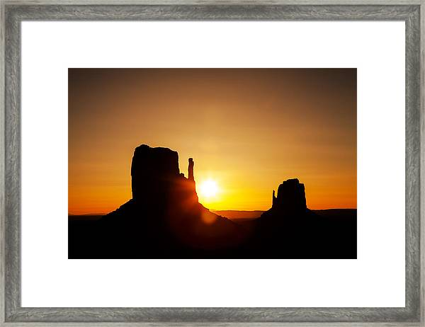 Golden Sunrise In Monument Valley National Park Framed Print
