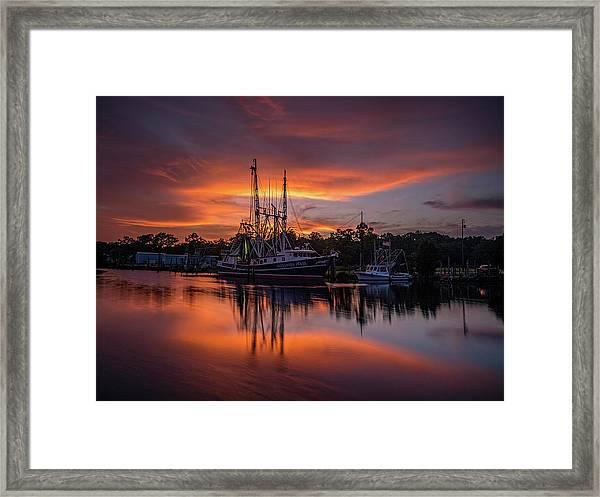 Golden Sunset On The Bayou Framed Print