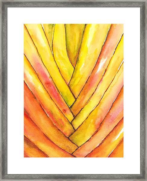 Golden Travelers Palm Trunk Framed Print