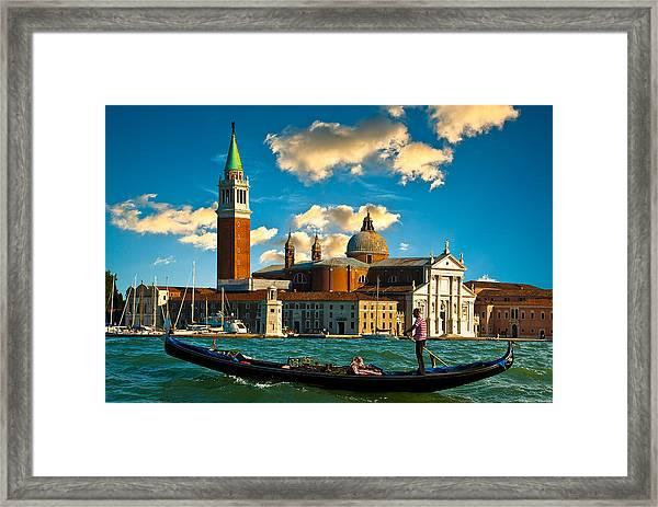 Gondola And San Giorgio Maggiore Framed Print