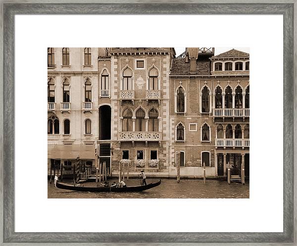 Gondola Crossing Grand Canal Framed Print