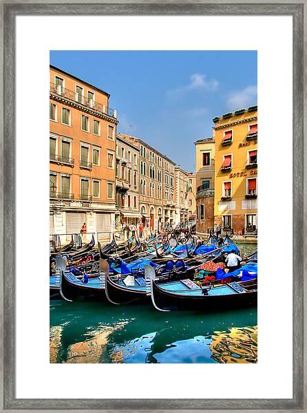 Gondolas In The Square Framed Print