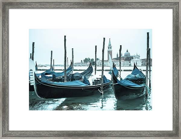Gondolas On The Venice Lagoon Framed Print
