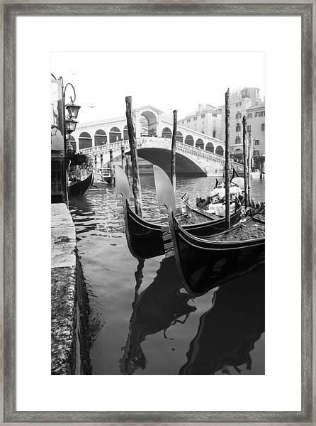 Gondole At Rialto Bridge Framed Print