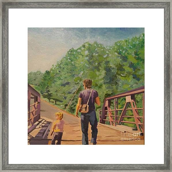 Gone Fishing With Dad Framed Print