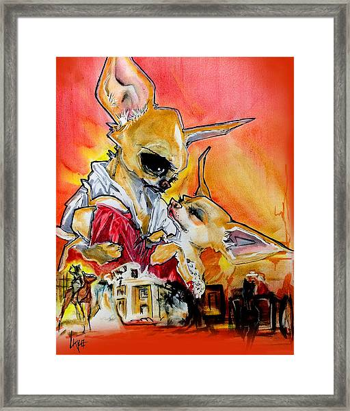 Gone With The Wind Chihuahuas Caricature Art Print Framed Print