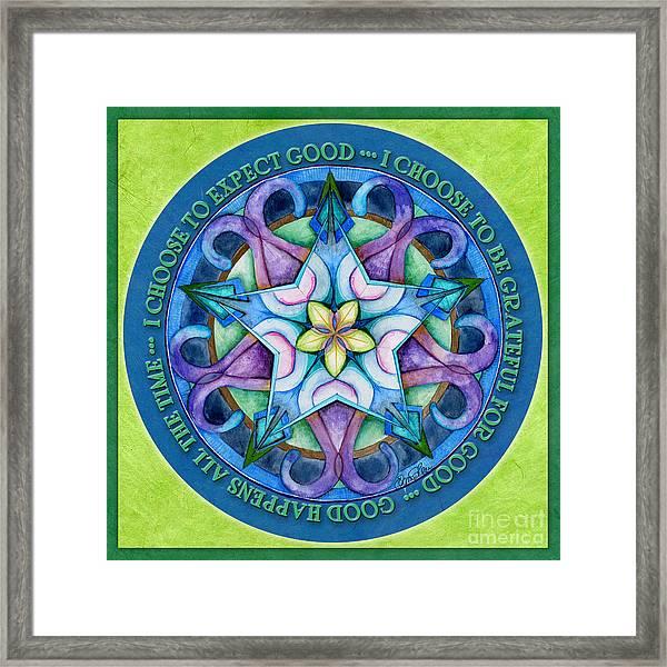 Good Happens Mandala Prayer Framed Print
