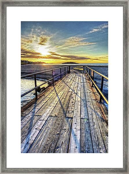 Good Harbor Beach Footbridge Shadows Framed Print