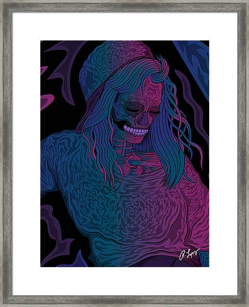 Good Vibes Skelegirl Framed Print