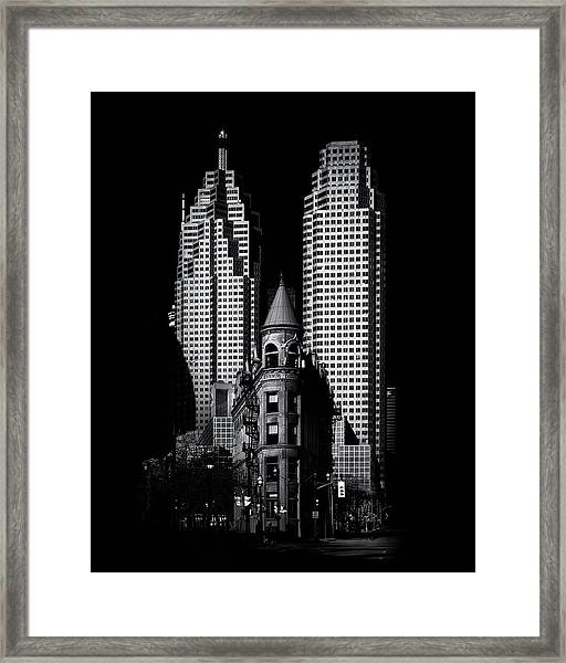 Gooderham Flatiron Building And Toronto Downtown No 2 Framed Print