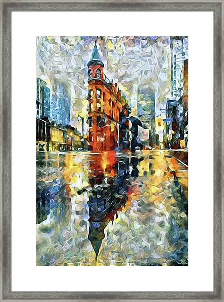 Gooderham Flatiron Building In The Rain Framed Print