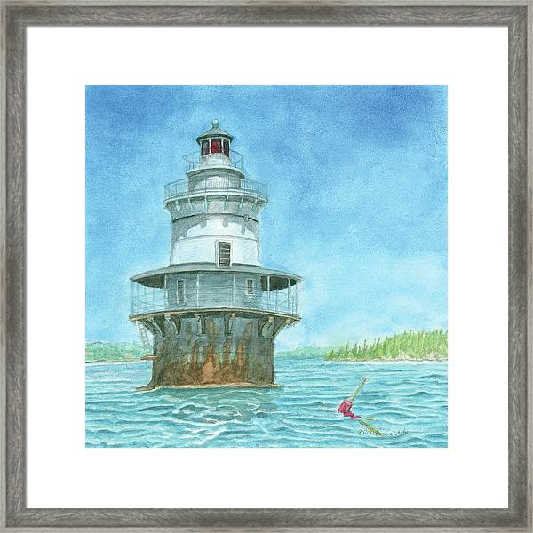 Framed Print featuring the painting Goose Rocks Light At High Tide by Dominic White