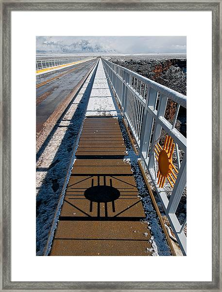 Framed Print featuring the photograph Gorge Bridge Zia Symbol by Britt Runyon