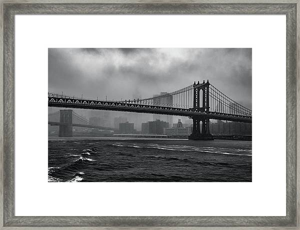 Manhattan Bridge In A Storm Framed Print
