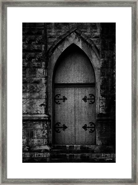 Gothic Door Memphis Church Bw Framed Print