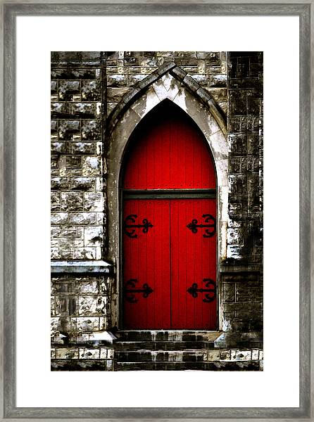 Gothic Red Door Memphis Church Framed Print