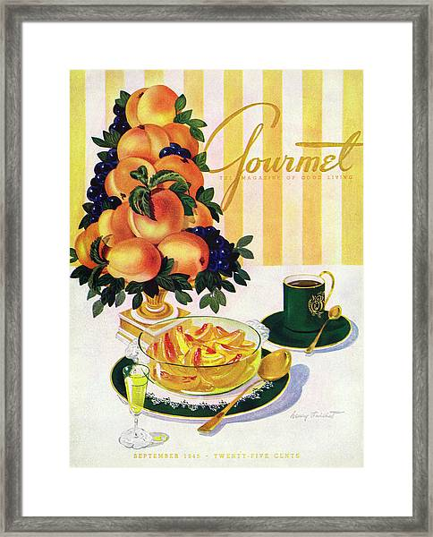 Gourmet Cover Featuring A Centerpiece Of Peaches Framed Print