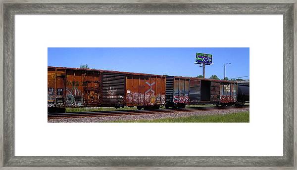 Graffiti Train With Billboard Framed Print
