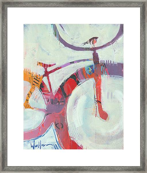 Framed Print featuring the painting Graffiti Bird by Shelli Walters