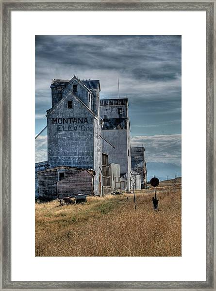 Grain Elevators, Wilsall Framed Print