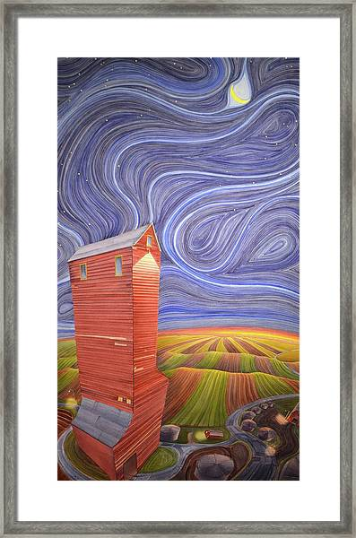 Framed Print featuring the painting Grain Tower IIi by Scott Kirby