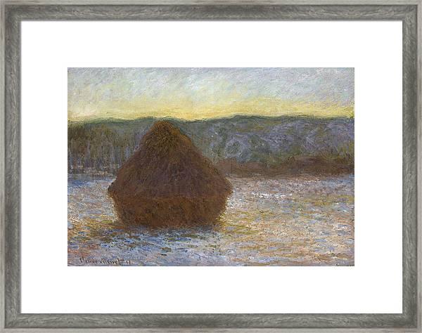 Grainstack, Thaw, Sunset, 1891 Framed Print