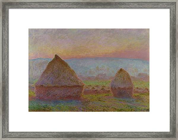 Grainstacks At Giverny The Evening Sun 1888 1889 Framed Print