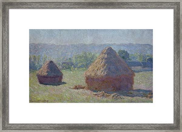 Grainstacks At The End Of Summer, Morning Effect, 1891 Framed Print