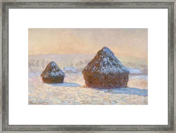 Grainstacks In The Morning, Snow Effect, 1891 Framed Print